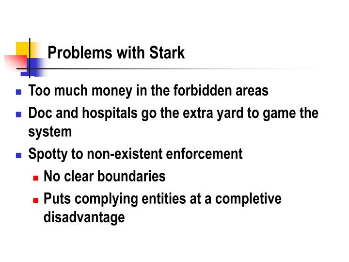 Problems with Stark