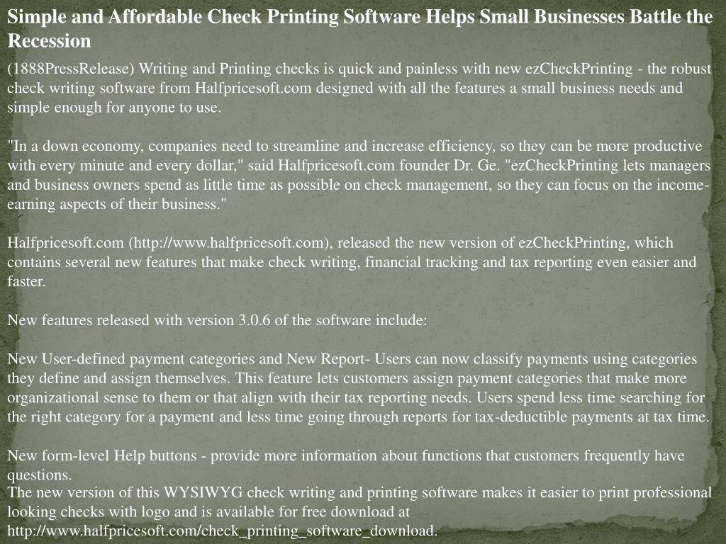 Simple and Affordable Check Printing Software Helps Small Businesses Battle the Recession