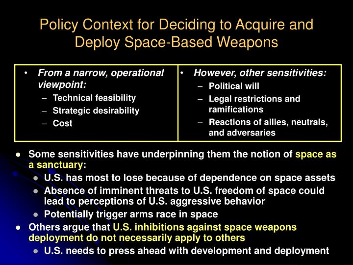 Policy Context for Deciding to Acquire and Deploy Space-Based Weapons