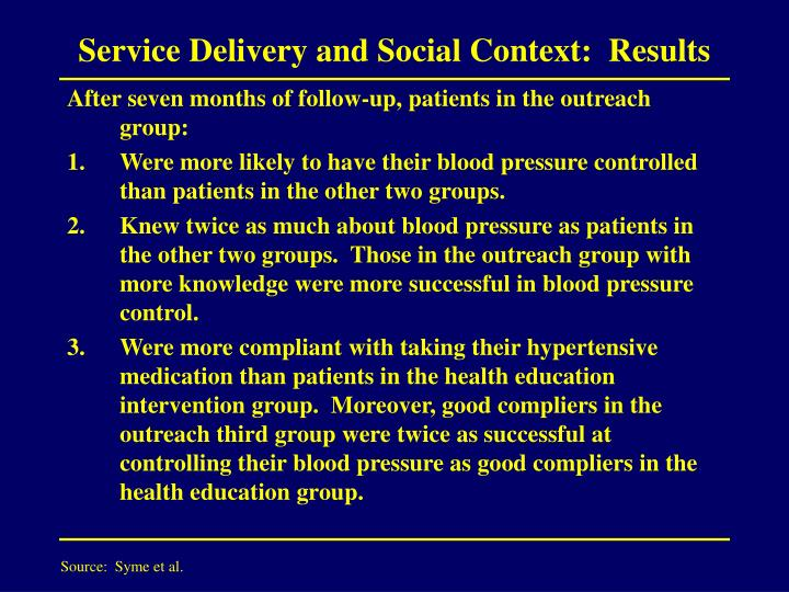 Service Delivery and Social Context:  Results
