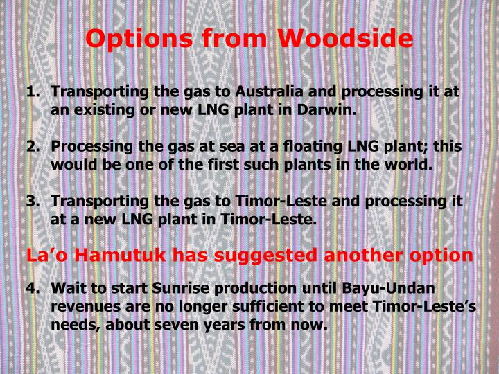 Options from Woodside