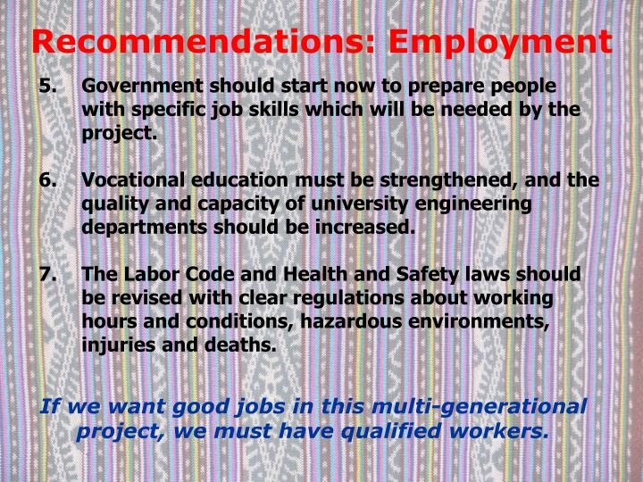 Recommendations: Employment