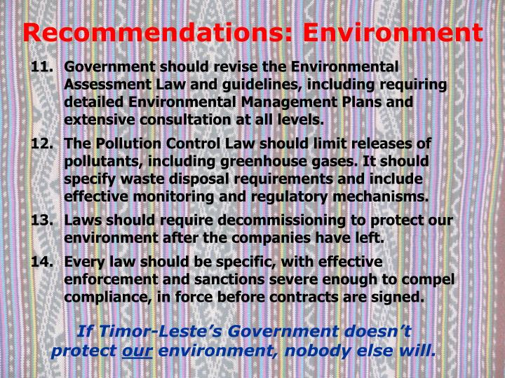 Recommendations: Environment