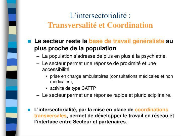 L'intersectorialité :