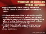 weblogs in the classroom writing instruction
