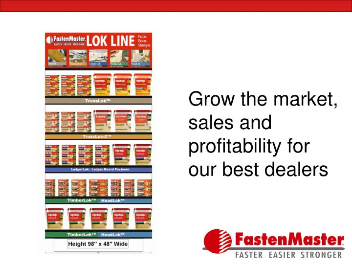 Grow the market, sales and profitability for our best dealers