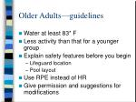 older adults guidelines