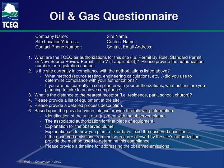 Oil & Gas Questionnaire