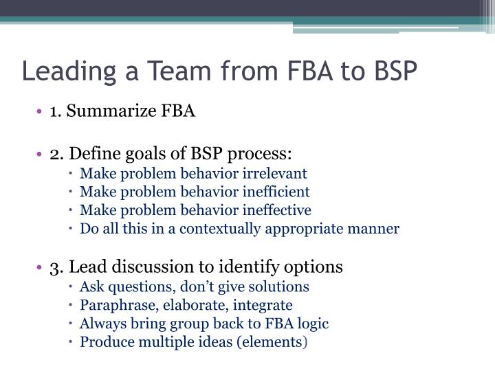 Leading a Team from FBA to BSP