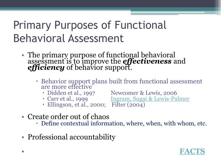 Primary Purposes of Functional Behavioral Assessment