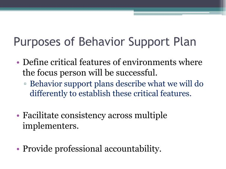 Purposes of Behavior Support Plan
