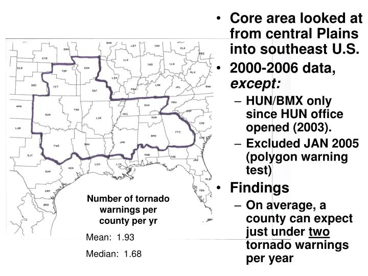 Core area looked at from central Plains into southeast U.S.