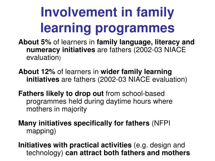 Involvement in family learning programmes
