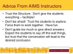 advice from aims instructors