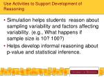 use activities to support development of reasoning