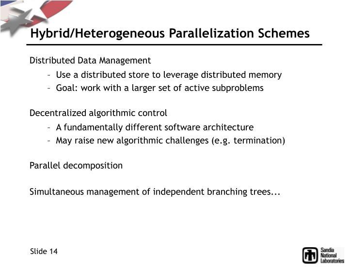 Hybrid/Heterogeneous Parallelization Schemes