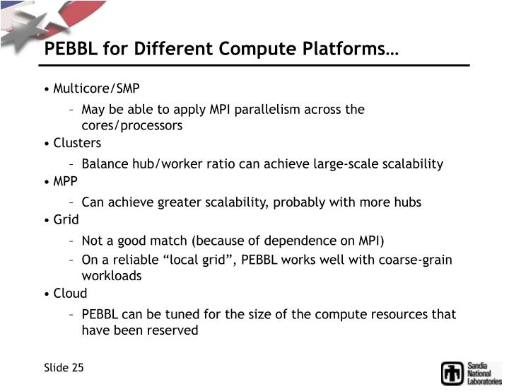 PEBBL for Different Compute Platforms…