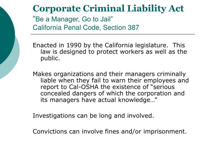 Corporate Criminal Liability Act