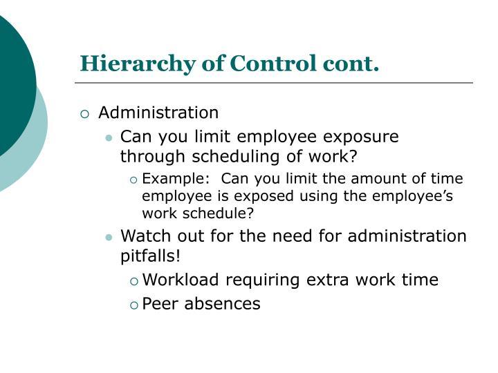 Hierarchy of Control cont.