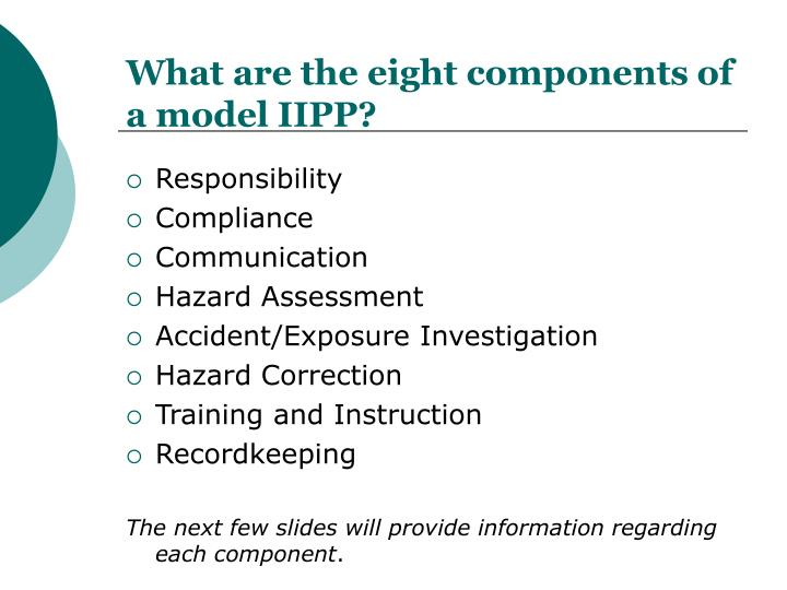 What are the eight components of a model IIPP?