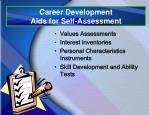 career development aids for self assessment