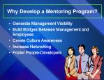 why develop a mentoring program