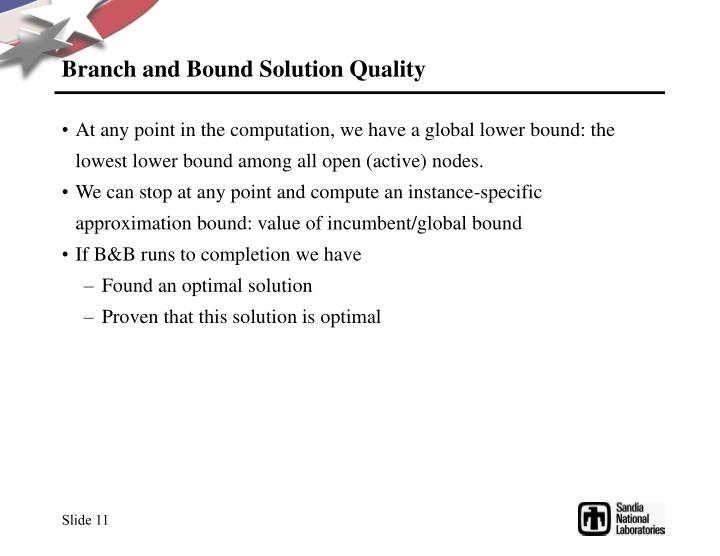 Branch and Bound Solution Quality