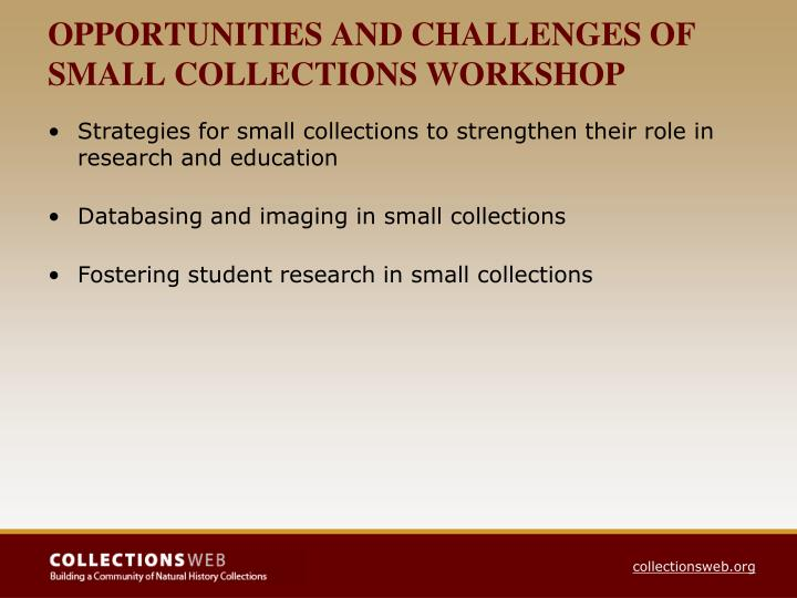 OPPORTUNITIES AND CHALLENGES OF SMALL COLLECTIONS WORKSHOP