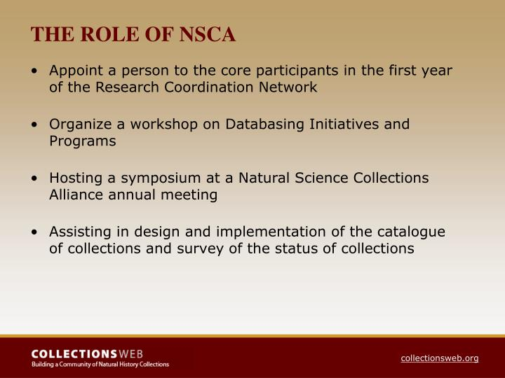 THE ROLE OF NSCA
