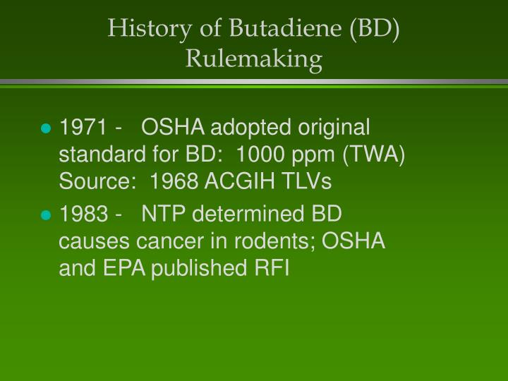 History of Butadiene (BD) Rulemaking
