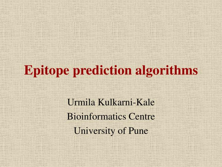 epitope prediction algorithms n.