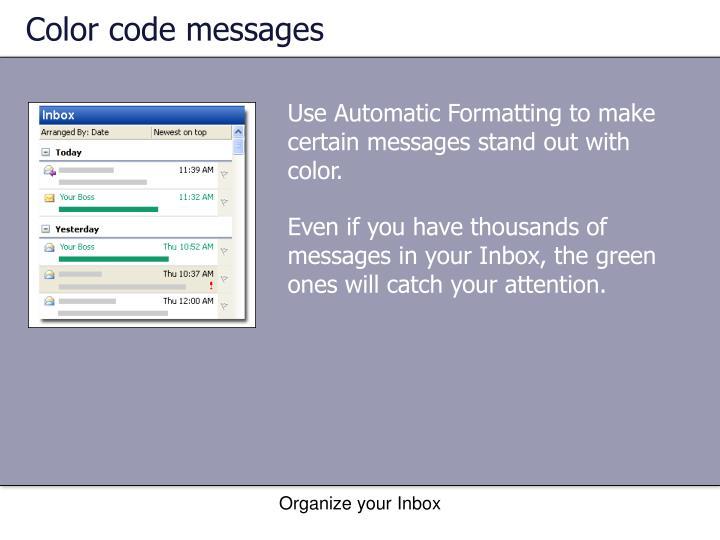 Color code messages