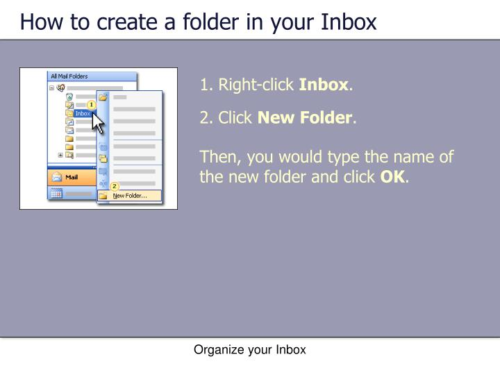 How to create a folder in your Inbox