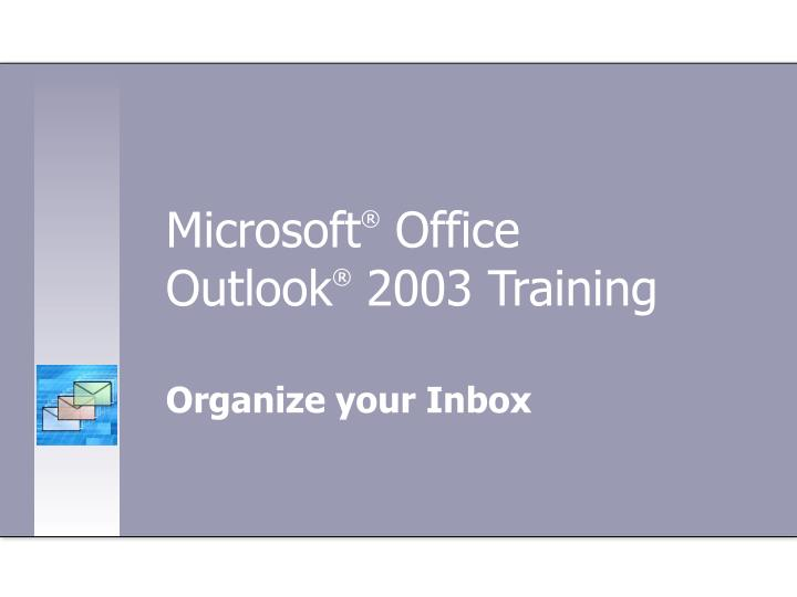 Microsoft office outlook 2003 training