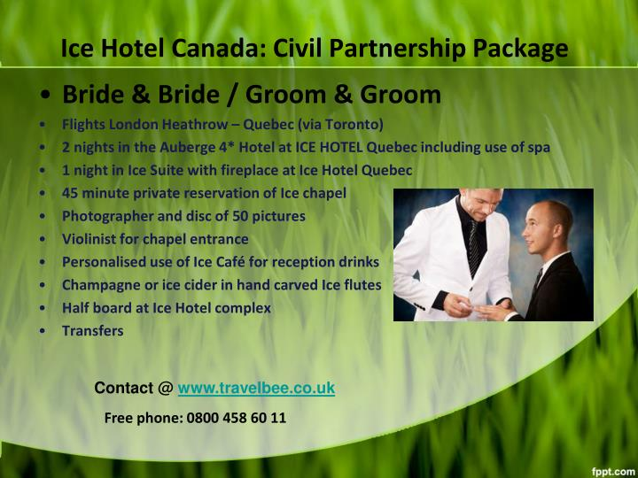 Ice hotel canada civil partnership package