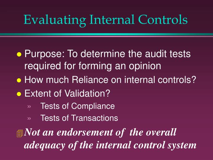 Evaluating Internal Controls
