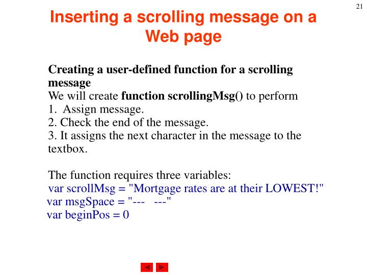 Inserting a scrolling message on a Web page