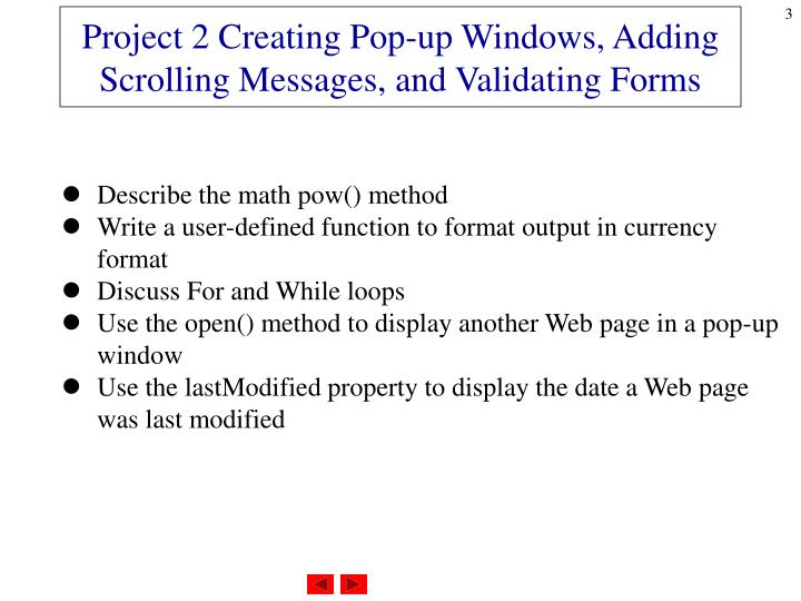 Project 2 creating pop up windows adding scrolling messages and validating forms1