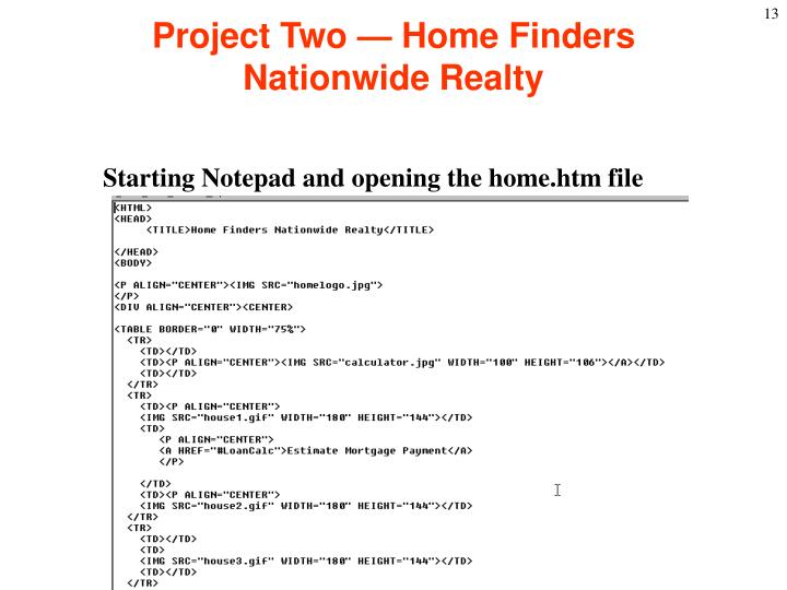 Project Two — Home Finders Nationwide Realty