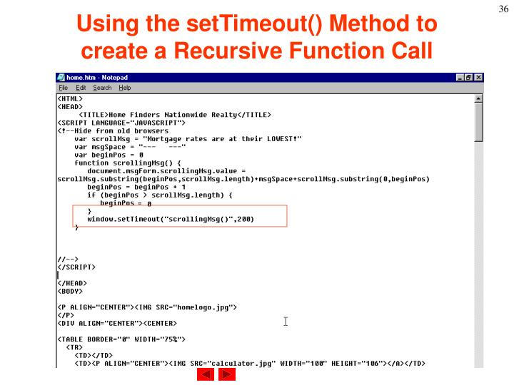 Using the setTimeout() Method to create a Recursive Function Call