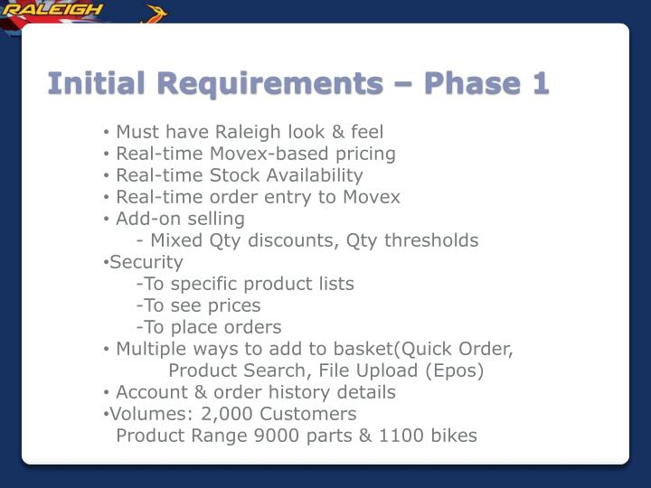 Initial Requirements – Phase 1