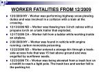 worker fatalities from 12 2009