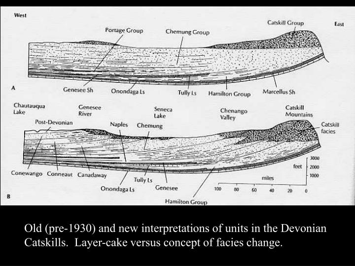 Old (pre-1930) and new interpretations of units in the Devonian Catskills.  Layer-cake versus concept of facies change.