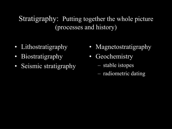 Stratigraphy putting together the whole picture processes and history