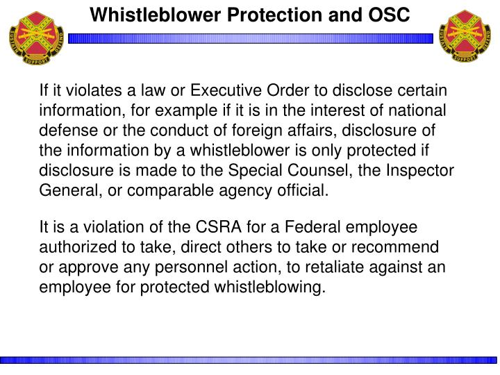 Whistleblower Protection and OSC