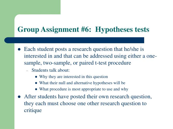 Group Assignment #6:  Hypotheses tests