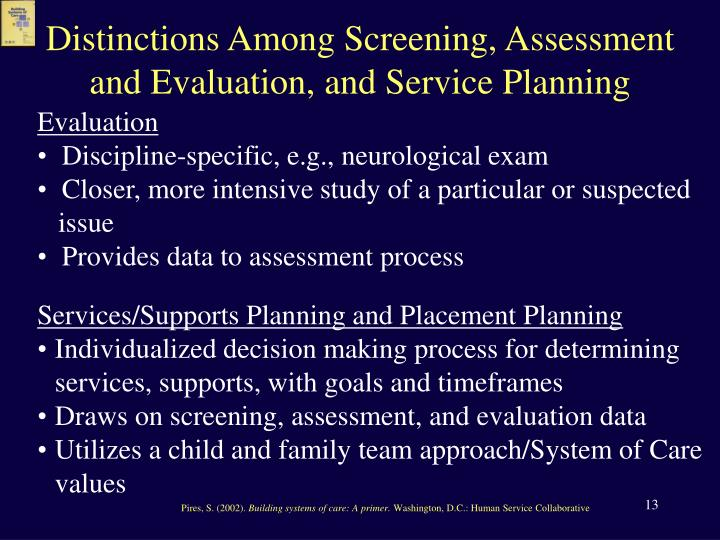 Distinctions Among Screening, Assessment