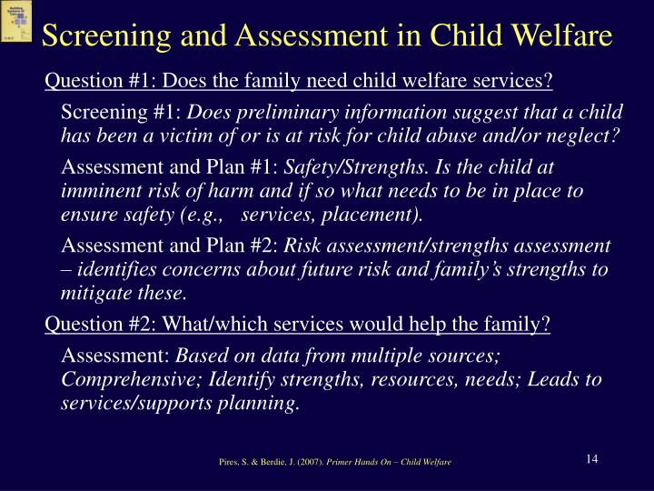 Screening and Assessment in Child Welfare