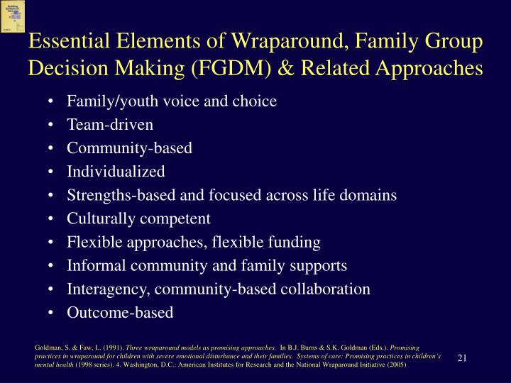 Essential Elements of Wraparound, Family Group Decision Making (FGDM) & Related Approaches
