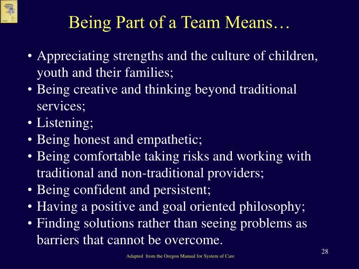 Being Part of a Team Means…